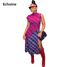 Plaid Print High Split Midi Dress Sheath Bodycon Sleeveless Dress Turtleneck Patchwork Elegant Party Dresses Colorful  Vestidos turtleneck falbala patchwork plaid blouse