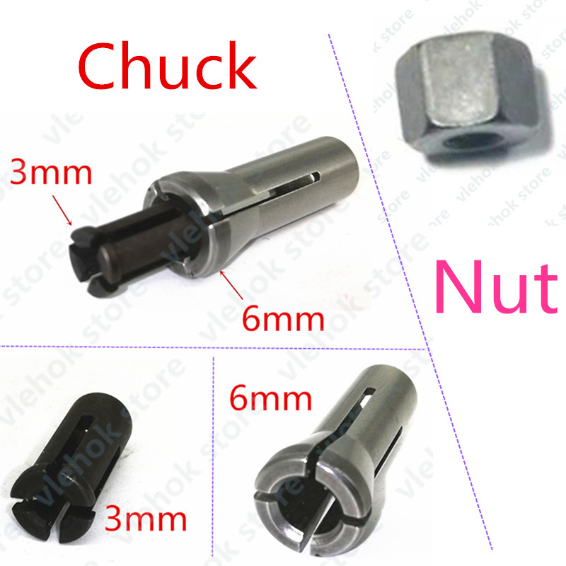 Iron Chuck Cap replace for Makita GD0600 906 763620-8 3mm 6mm 763627-4 GD0603 GD0601 collet nut Power Tool Accessories Electric