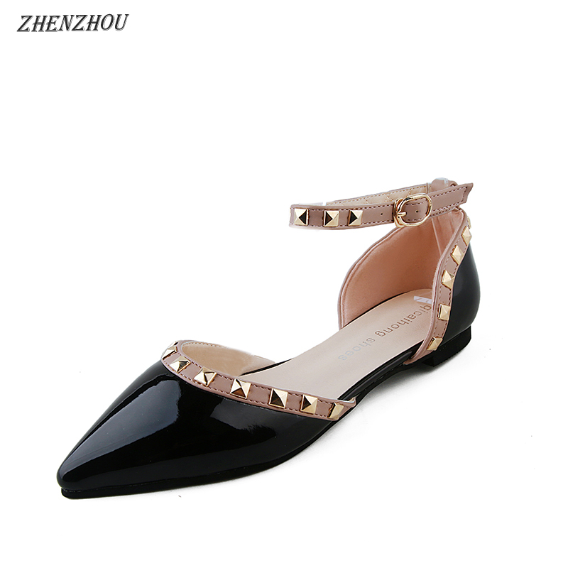 Pointed female summer shallow mouth flat rivet shoes 1