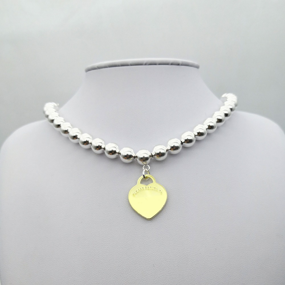 TIFF925 silver popular classic sign golden heart hanging round pearl beaded necklace pendant ladies fashion jewelry giftsTIFF925 silver popular classic sign golden heart hanging round pearl beaded necklace pendant ladies fashion jewelry gifts