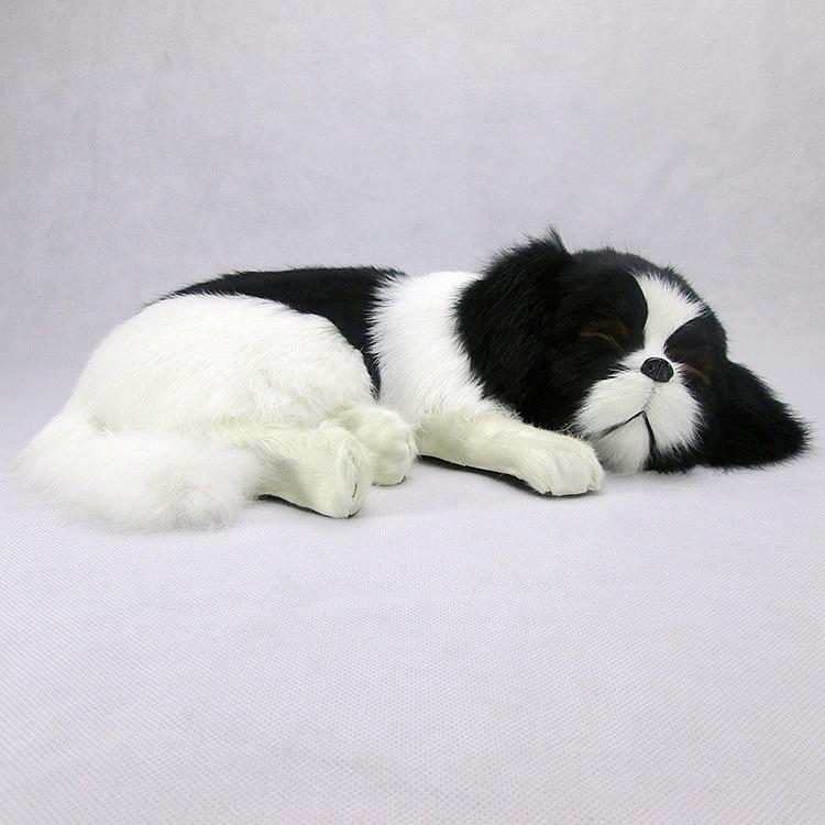 new simulation sleeping dog polyethylene & furs black&white dog model doll gift about 35x25x9cm 297 big simulation sitting dog polyethylene