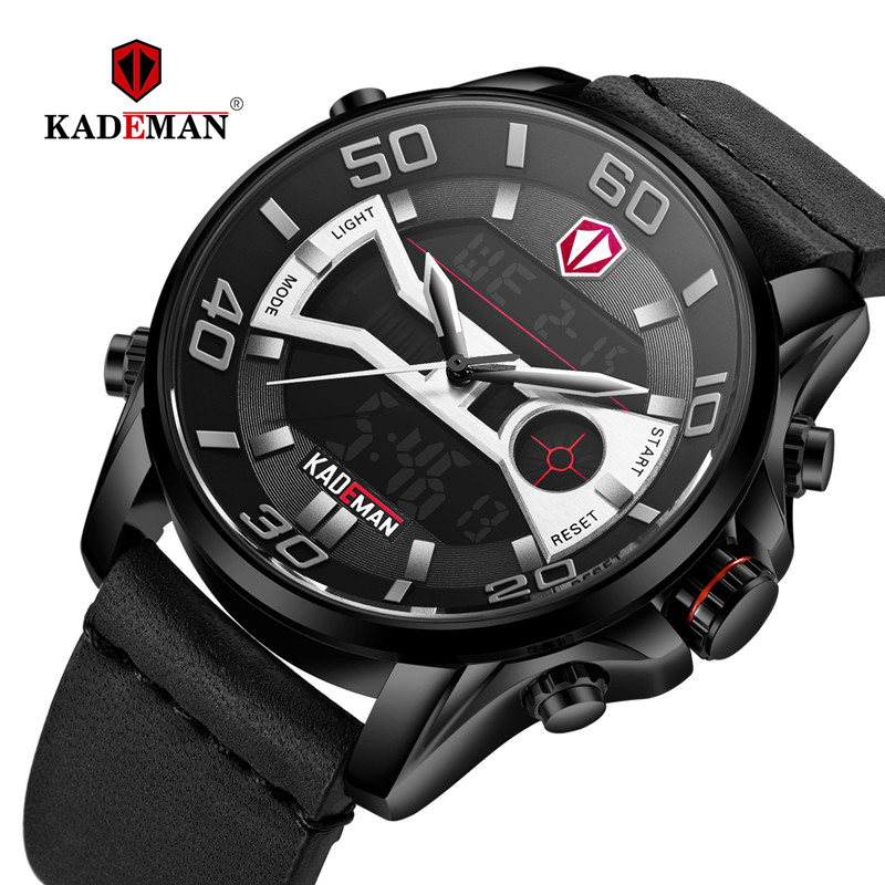 TOP Quality Men Watch 3ATM Sport Watch Luxury LED Display Digital Wristwatch KADEMAN Brand Time Casual Leather Relogio Masculino in Sports Watches from Watches