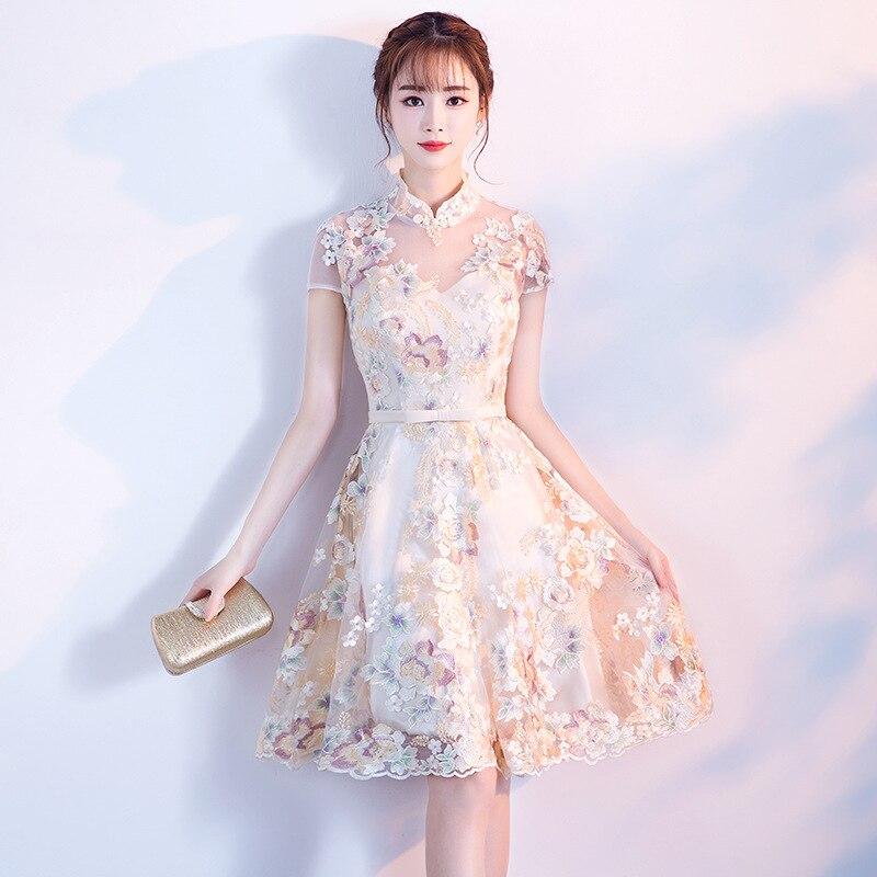 Китайский Винтаж вышитые женское платье 2019 элегантный цветок Высокая талия халат S вечернее, для вечеринки, короткое платья для женщин Беже...