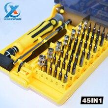 45 en 1 Multiusos Conjunto de Herramientas Caja de Herramientas de Reparación de Múltiples Kit de herramientas Herramientas de Destornilladores de Precisión para el iphone Portátil Rápido gratis