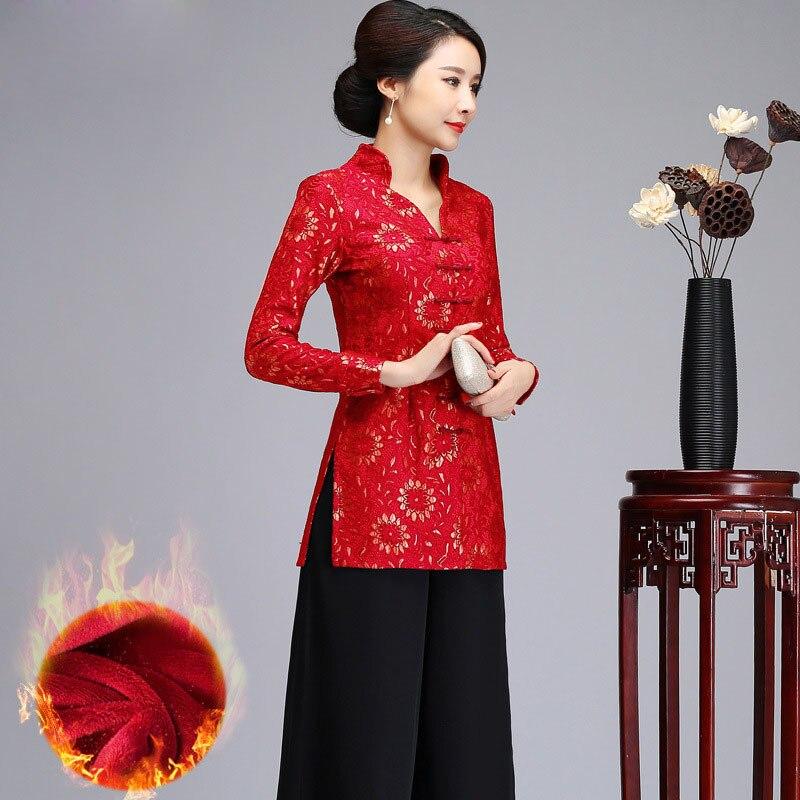 Col en v épais Floral chemise chinois classique femmes longs hauts hiver Plus velours Blouse dentelle à la main bouton Tang vêtements 5XL