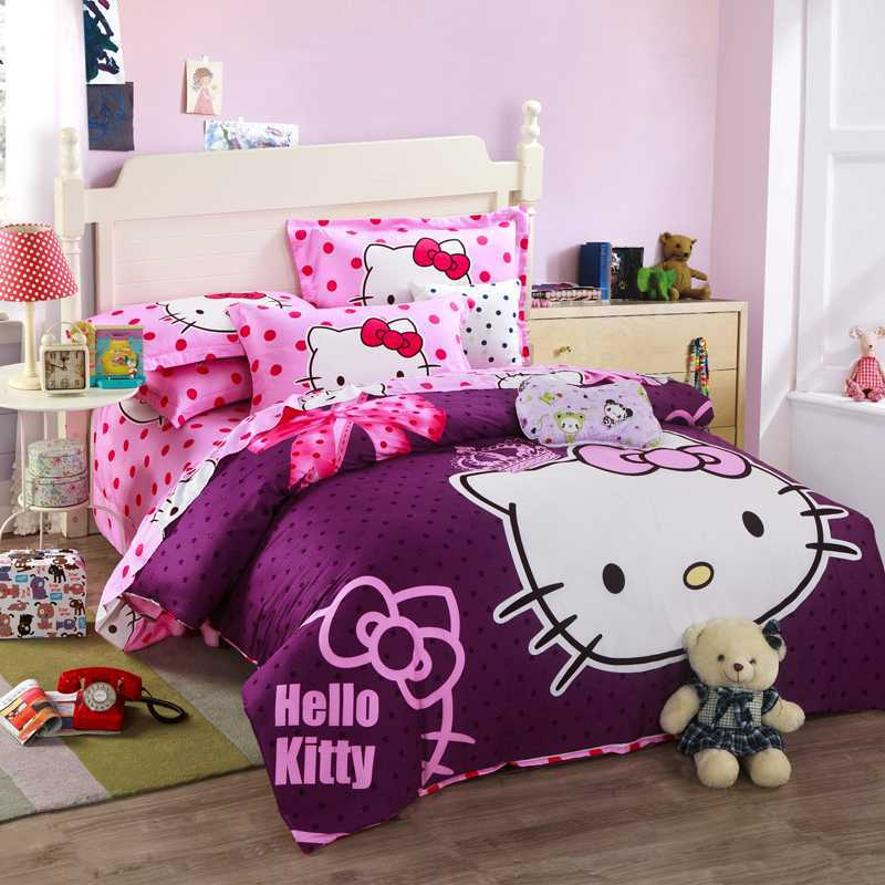 Hello Kitty Bedroom Sets Girls hello kitty bed set queen | dance-drumming