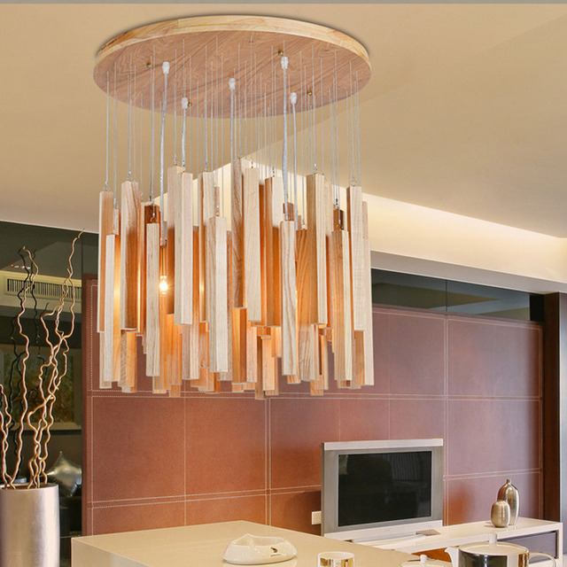Modern Chandelier Solid Natural Batten Wood Art Creative Dining Room Lighting Decor E27 Max Wattage