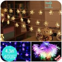 40led 4.3 M Snowflake String Led Guirlande Verlichting Voor Kerst Tuin Kamer Shop Decoratie Lamp Festival Lichten Boom outdoor Decor
