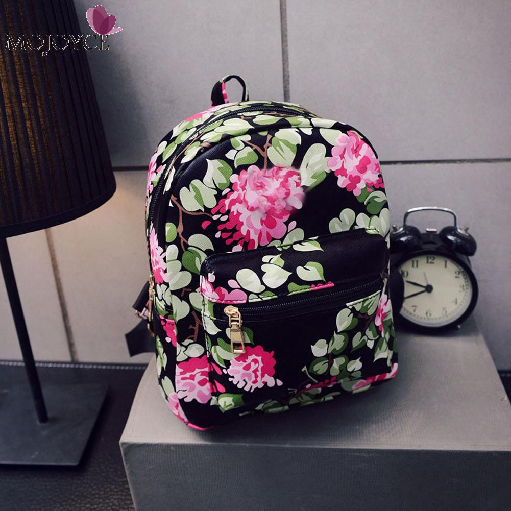 2017 New Floral Printing Backpack School Bags For Teenagers Girls Famous Brand Women Leather Backpacks Travel Bag Bolsa vintage casual leather travel bags famous brand school backpacks women bag mochila backpack lovely girls school bags ladies bag