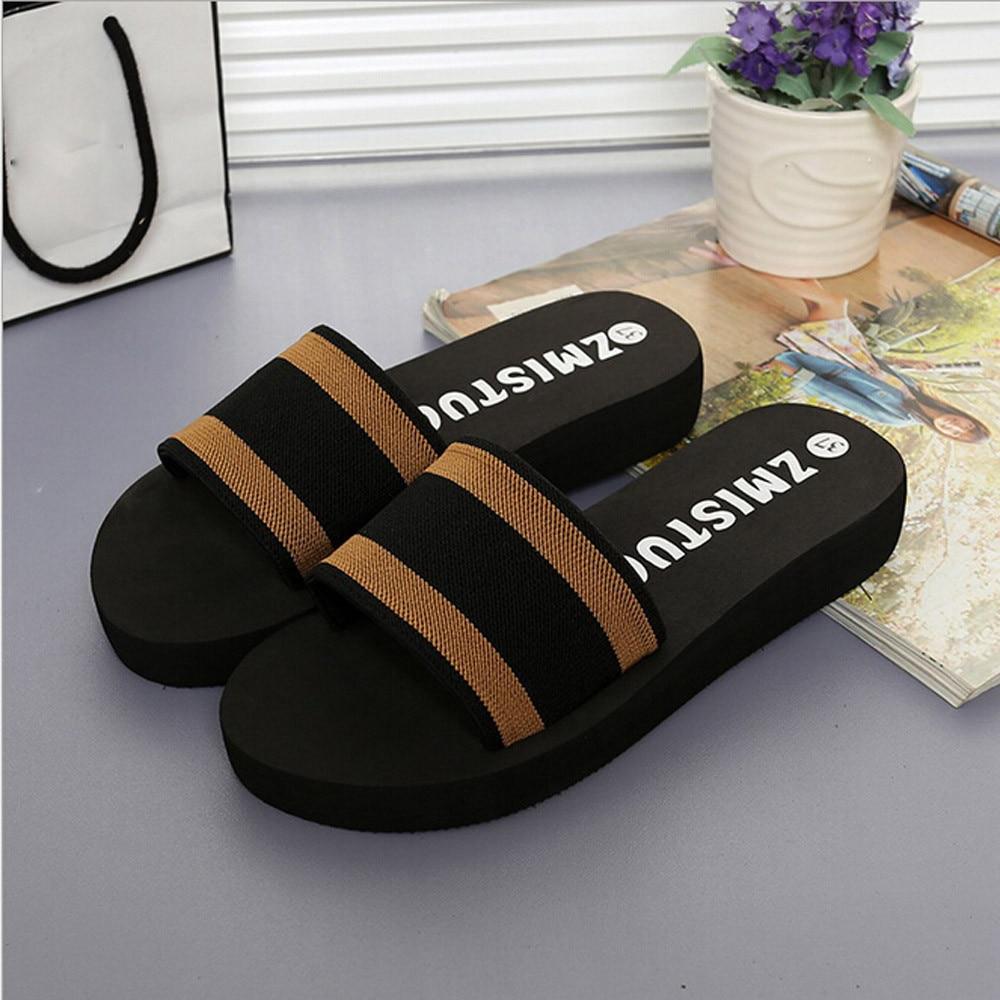 Summer Women Shoes Platform Bath Sandals Wedge Beach Shoes Shallow Home Slides Round Toe Non-slip Brown Comfy Shoes Stripe