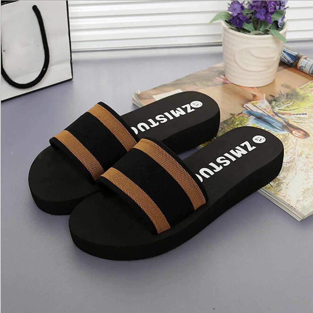 קיץ נשים נעלי פלטפורמת אמבטיה סנדלי טריז חוף נעלי רדוד בית שקופיות עגולים הבוהן החלקה חום נעלי קומפי פס