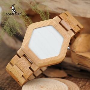 Image 3 - relogio BOBO BIRD LED Wood Mens Watches Digital Watch Men Night Vision Calendar Quartz Wristwatch Minimal Time Display Dropship