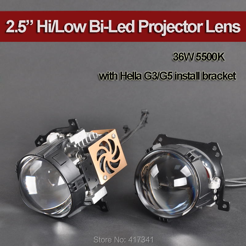 36W 2.5 Inches Bi LED Projector Lens with Hi/Low High Brightness 5500K Spot Glass Lens for Car Headlight Upgrading
