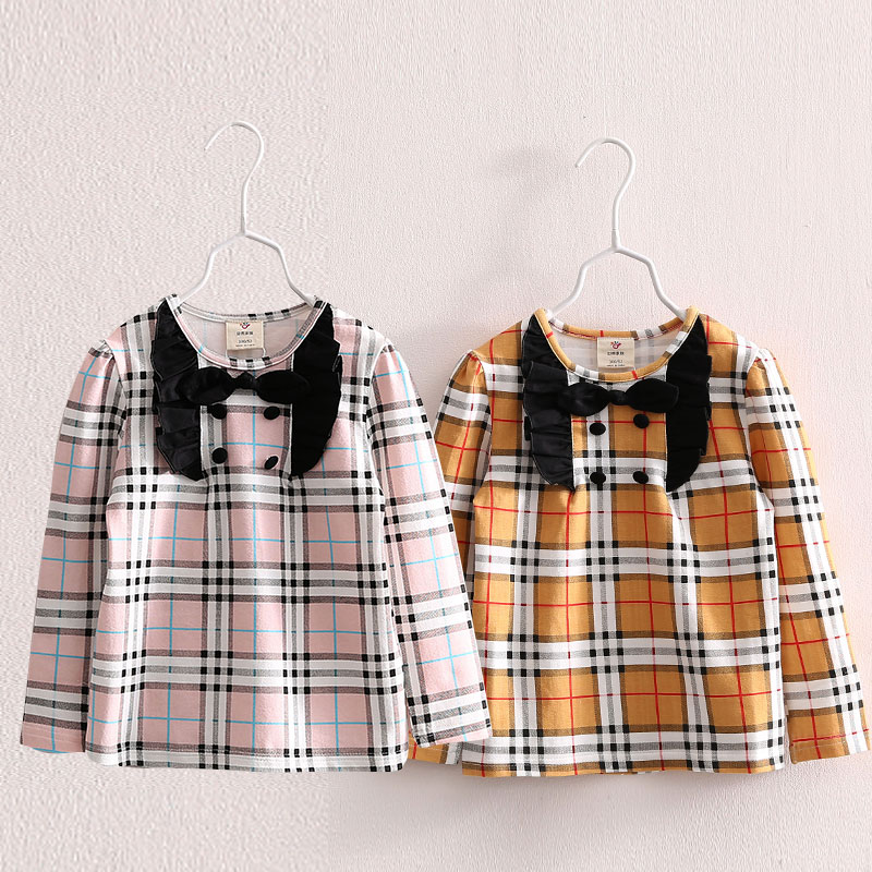 Baby grid render unlined upper garment spring 2016new children's clothing female children's wear children's bow tx – 5965 shirts