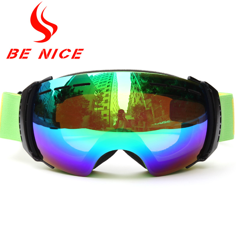 Benice Brand New Ski Goggles Double Lens Anti-Fog Big Size Spherical Professional Ski Glasses Women Men Multicolor Snow Goggles