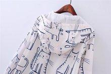 Cartoon Cat Print Hoodie Jacket