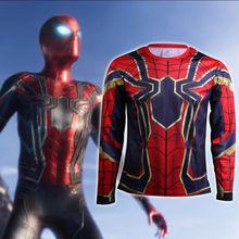 цена Cosplay Avengers Infinity War Spiderman T-Shirt Sostume Long Sleeve Men's T-Shirts New 2 онлайн в 2017 году