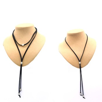 10pcs/lots Western Suede bolo tie heart shape collar leather rope unisex vintage pattern collar cowgirl  wedding accessories