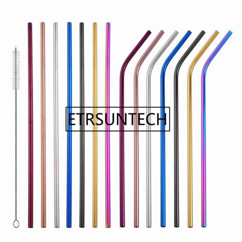 500pcs 265mm 6mm Colorful Straw 304 Stainless Steel Straws Reusable Bent Metal Drinking Straw with Cleaner