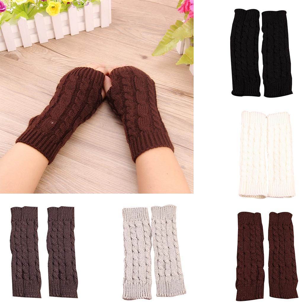 1 Pair Women Knit Long Half Gloves Arm Warmers Holes Mittens Girls Winter Riding Winter Warm Gloves