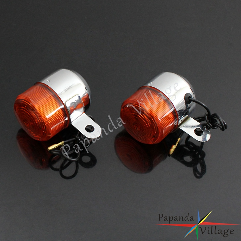 Papanda Chrome Blinker Flasher Light Motorcycle Amber Light Turn Signal Indicators Lamp For Honda Z50 ST50 ST70 CT70