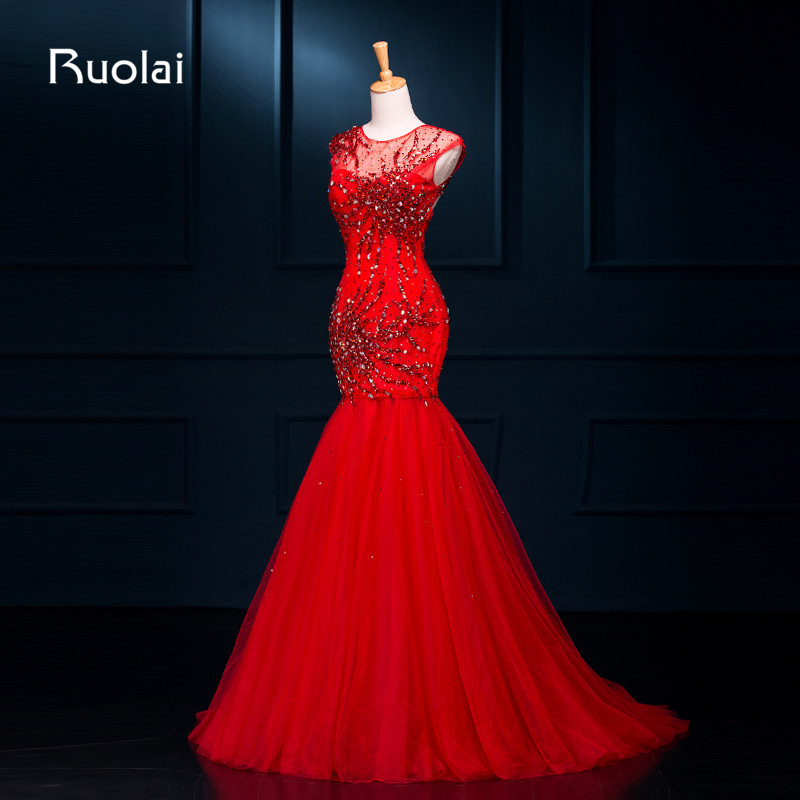Heavy Beading 2019 Vestido de Fiesta Scoop Sleeves Tulle Mermaid   Evening     Dresses   Red Formal Prom   Dress     Evening   Gown ASAFE12