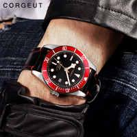 Corgeut Military Schwarz Bay Männer Automatische Mechanische Uhr Luxus Marke Sport Schwimmen Uhr Leder Mechanische Handgelenk Uhren