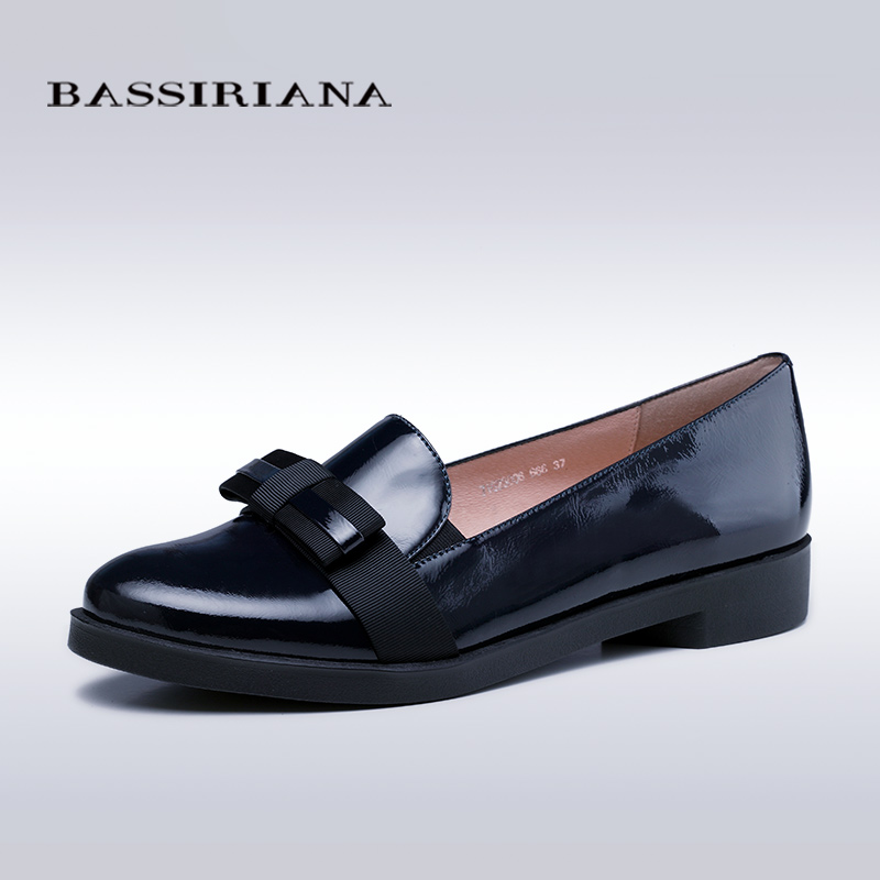 ФОТО BASSIRIANA - womens flats shoes 2017 genuine patent leather in black and blue 35-40 free shipping