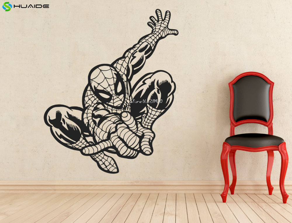 Superhero spiderman wall stickers for kids room boys - Childrens bedroom wall stickers removable ...