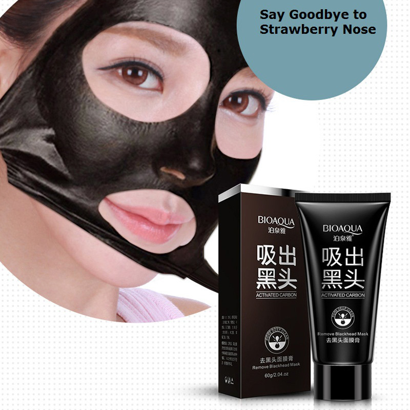 Black Facial Masque Nose Acne Blackhead Remover Deep Cleaning Super Strength Peel Off Mask Oil-Control Charcoal Mask Cream 60g