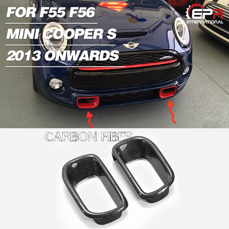 車のスタイリング炭素繊維バンパーは光沢のある仕上げフロントエアダクトチューニング吸気ボディキット部品トリムフィット f56 のためのミニクーパー S
