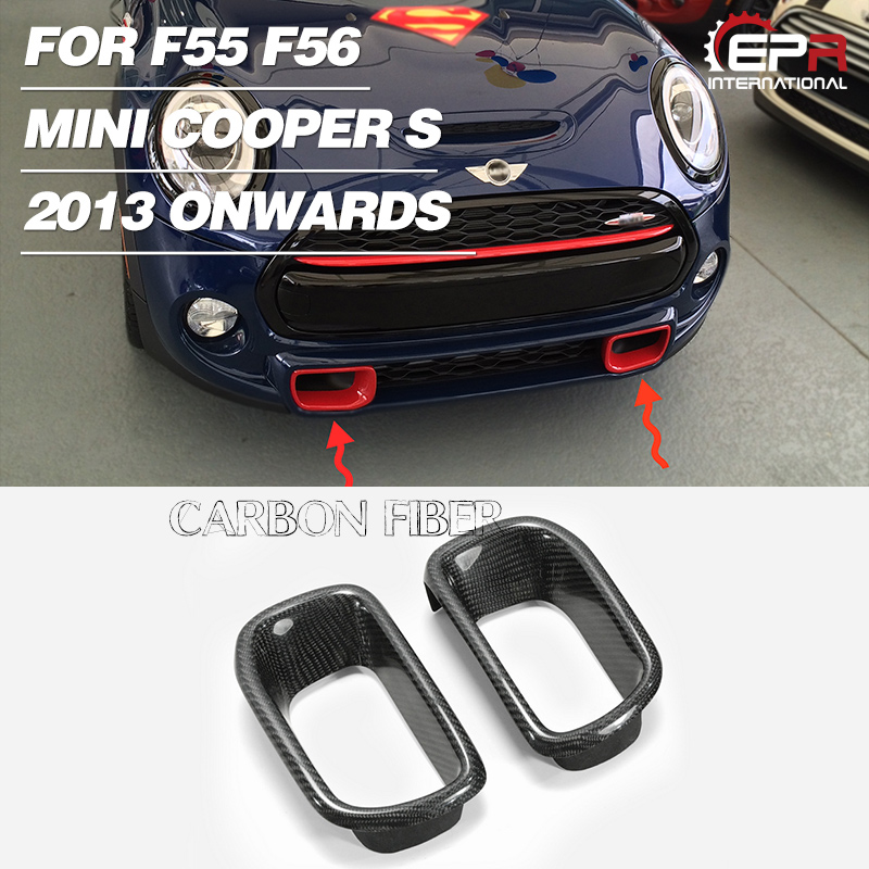 Car-styling Carbon Fiber Bumper Vent Glossy Finish Front Air Duct Tuning Air Intake Body Kit Part Trim Fit For F56 Mini Cooper S