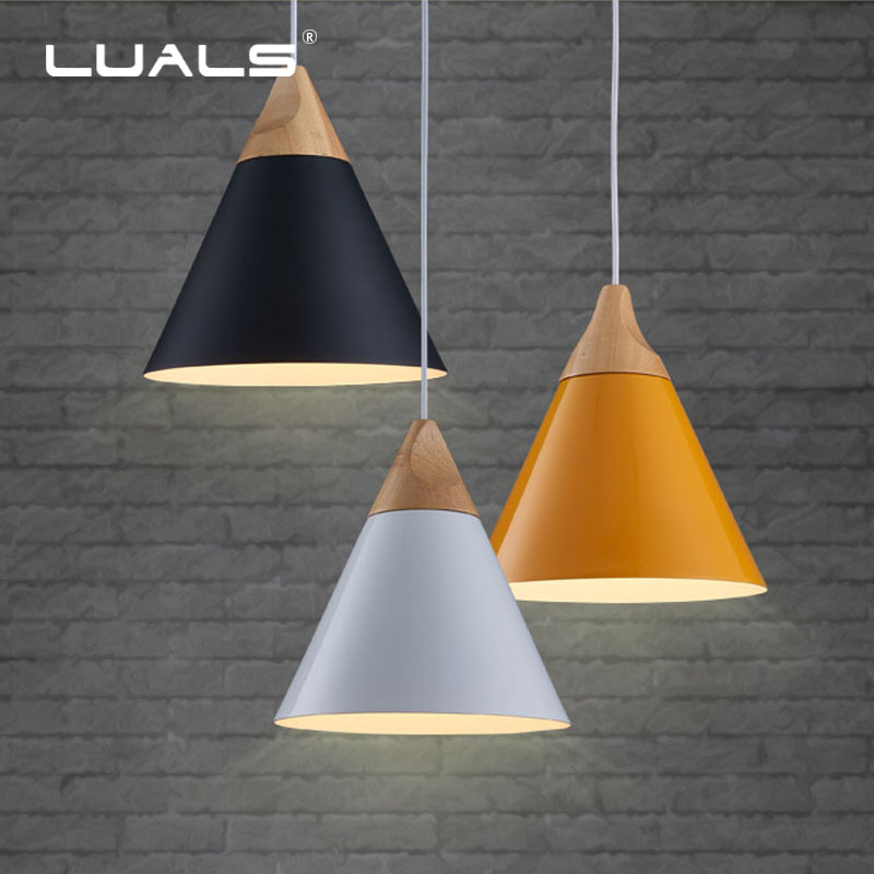 Nordic Lighting Fixtures Iron Lamp Shade Pendant Lights Simple Suspension Luminaire Bar Wood Hanging Lamps Led Pendant Light vintage hanging lamp e27 iron lamps bar art suspension luminaire indoor led pendant lights green iron lampshade pendant lighting