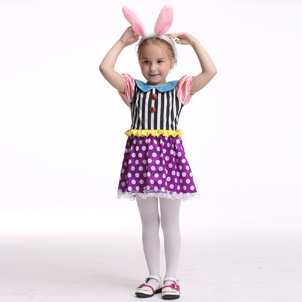 Bunny Girl Costume Halloween Costume For Kids Stage& Dance Wear Rabbit Skirt Party Cosplay Toddler Short Sleeve Dress
