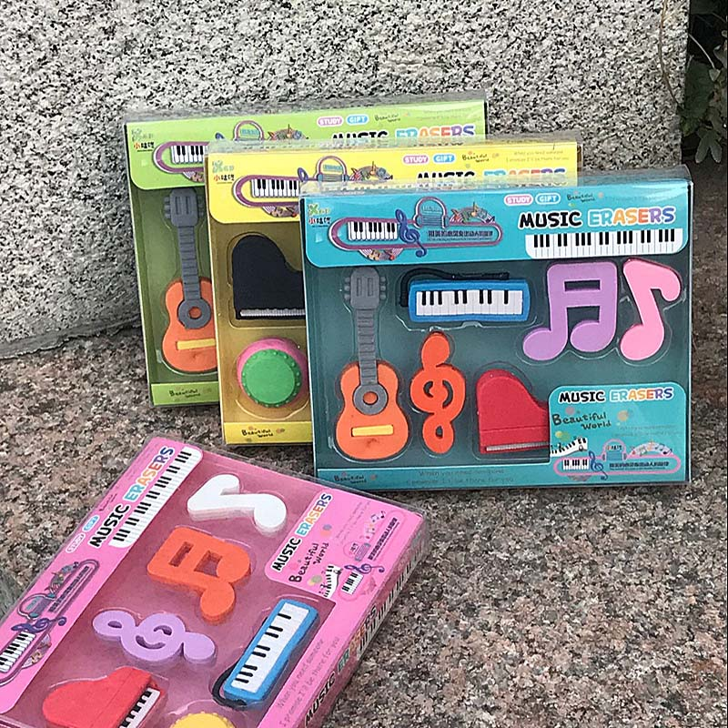 Creative Musical Notes Pencil Eraser School Students Study Gifts Prize Kids Stationery Colorful 3D Guitar Piano Music Set Eraser