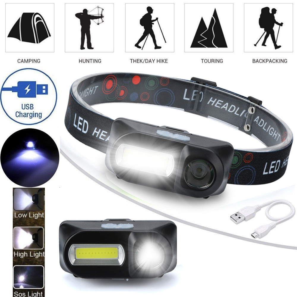 XPE COB LED 6-mode Headlight Straps Adjustable Headlamp Rechargeable Head Torch Bike Light Front Rechargable #3D12