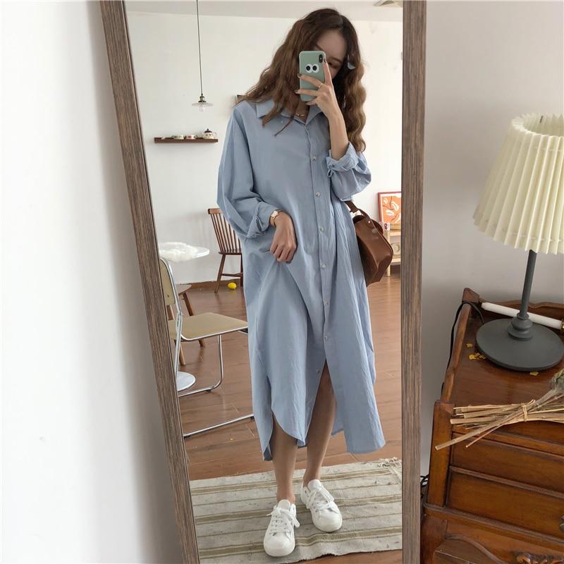Vintage Autumn Women Long Dress 2019 Lady Long Sleeve Cotton Shirt Dress Casual Turn-down Collar Loose Women Dresses