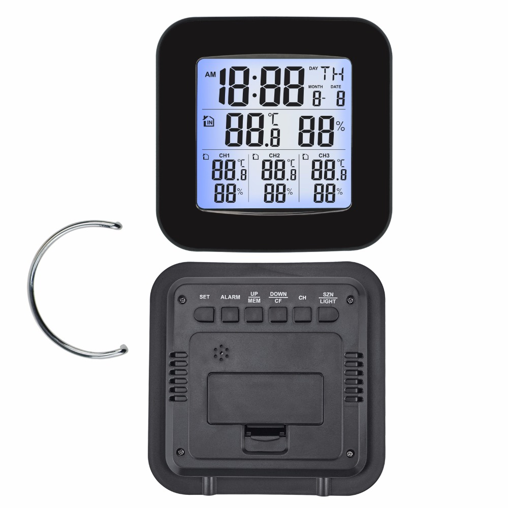 Image 4 - Weather Station w/ 3 Indoor/Outdoor Wireless Sensors Digital  Thermometer Hygrometer Black LED LCD Display Temperature