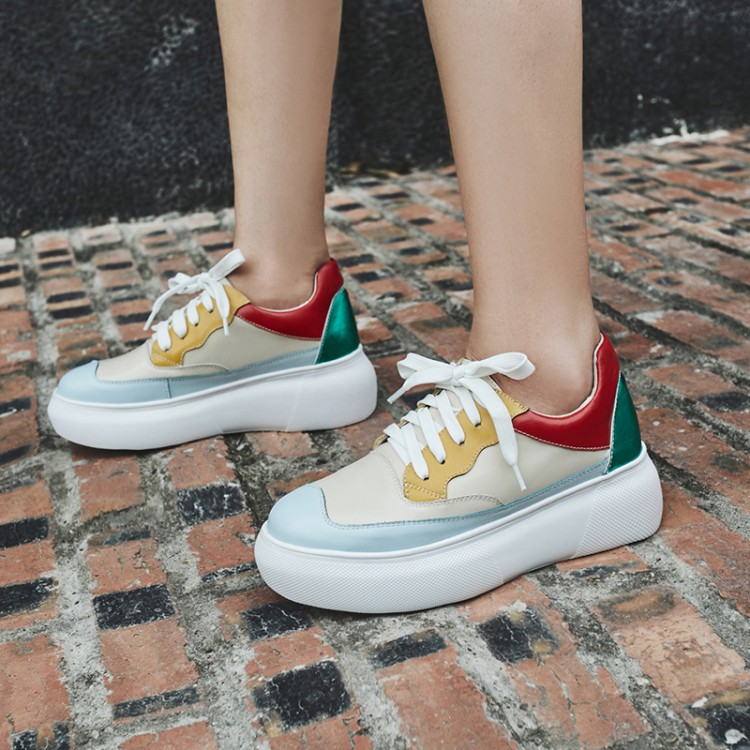 À Cuir Mocassins Femmes Semelles Dame 2019 Plat Chaussures Printemps Compensées Décontracté Appartements Talon De Lacets Creepers Baskets Multi En wfz1BI