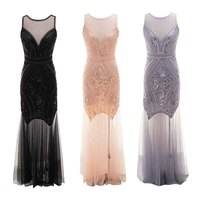 Women 1920s Flapper Great Gatsby Dress Vintage Classic Sleeveless Embellished Beaded Sequin Fringed Dress Club Party Dress