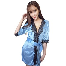 Sexy Lingerie Lace Patchwork Bride Bridesmaids Robe Women's Silk Wedding Party Kimono Robes Nightgown Sleepwear(China)