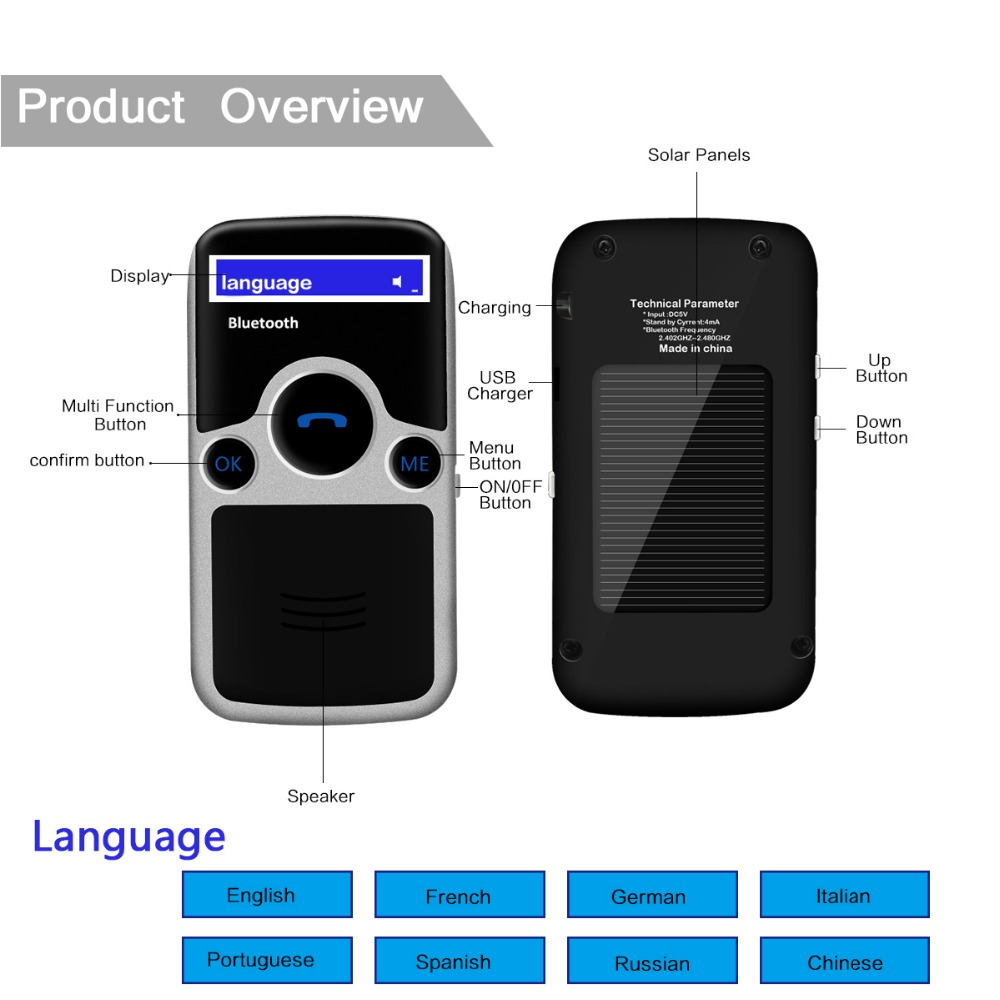 YOUCHUANGMEI A6 Solar Bluetooth handsfree car kit fm Stereo Transmitter many Language Display bluetooth speaker цены