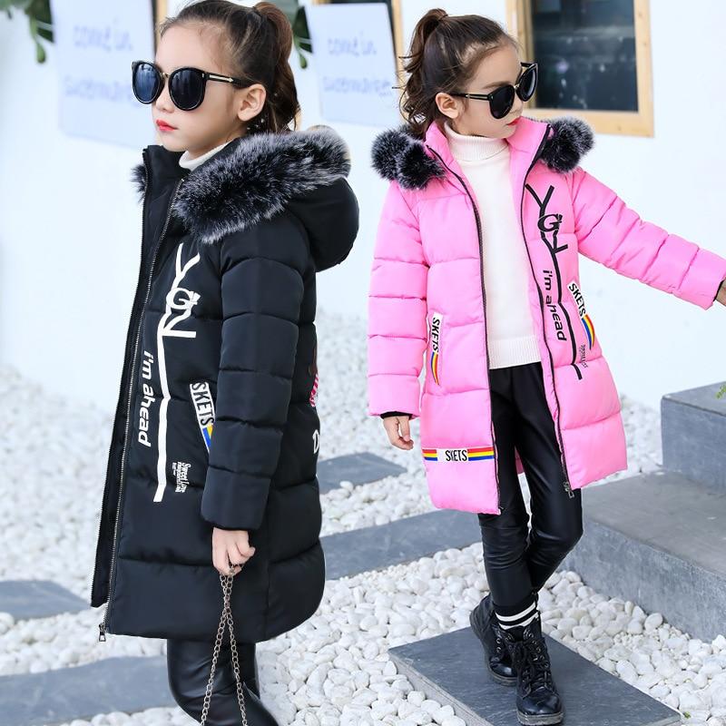 Girls Cotton-padded Outerwear Coats 2018 Autumn Winter Children Warm Clothes Princess Girl Faux Fur Collar Detachable Cap Jacket