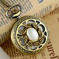 Steampunk Necklace Rhinestones Gem Vintage Quartz Pocket Watch Women Retro Pendant Gift With Box Free Shipping