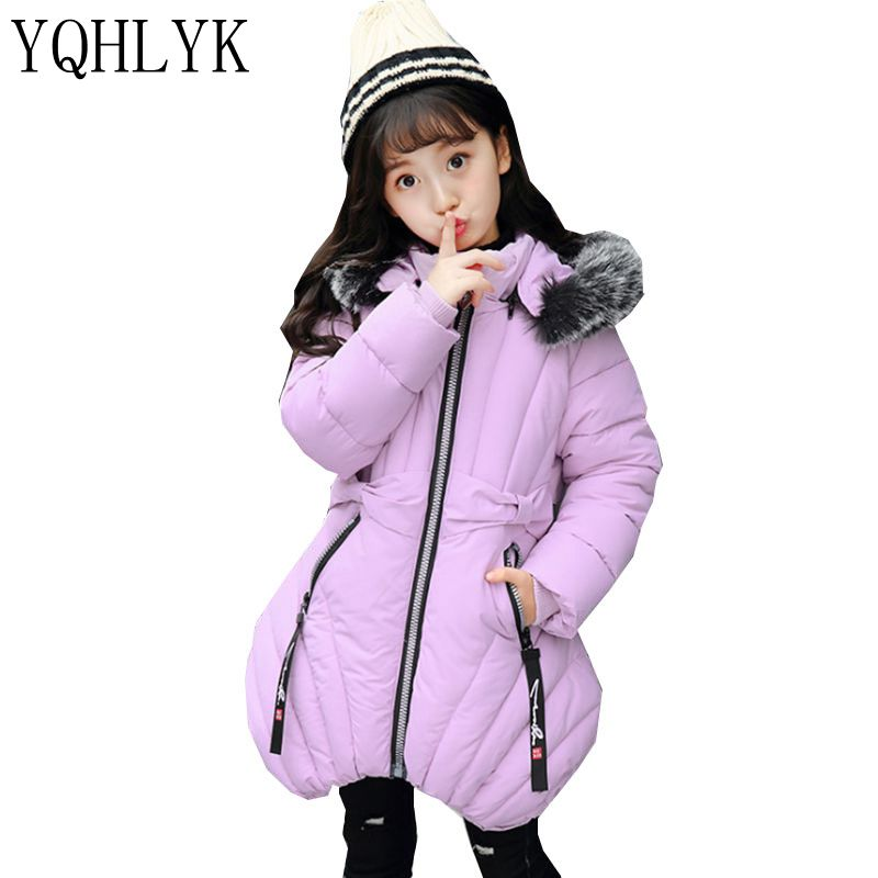 New Fashion Winter Cotton Girls Coat 2018 Korean Children Zipper Hooded Thick Warm Coat Sweet Casual Kids Clothes 5-11Y W74 new fashion winter cotton girls coat 2018 korean children hooded thick warm leather jacket casual atmosphere kids clothes w127