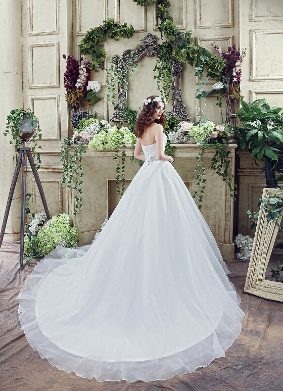 Romantisk Plus Storlek Bröllopsklänning Vit / Ivory Sweep Train - Bröllopsklänningar - Foto 2