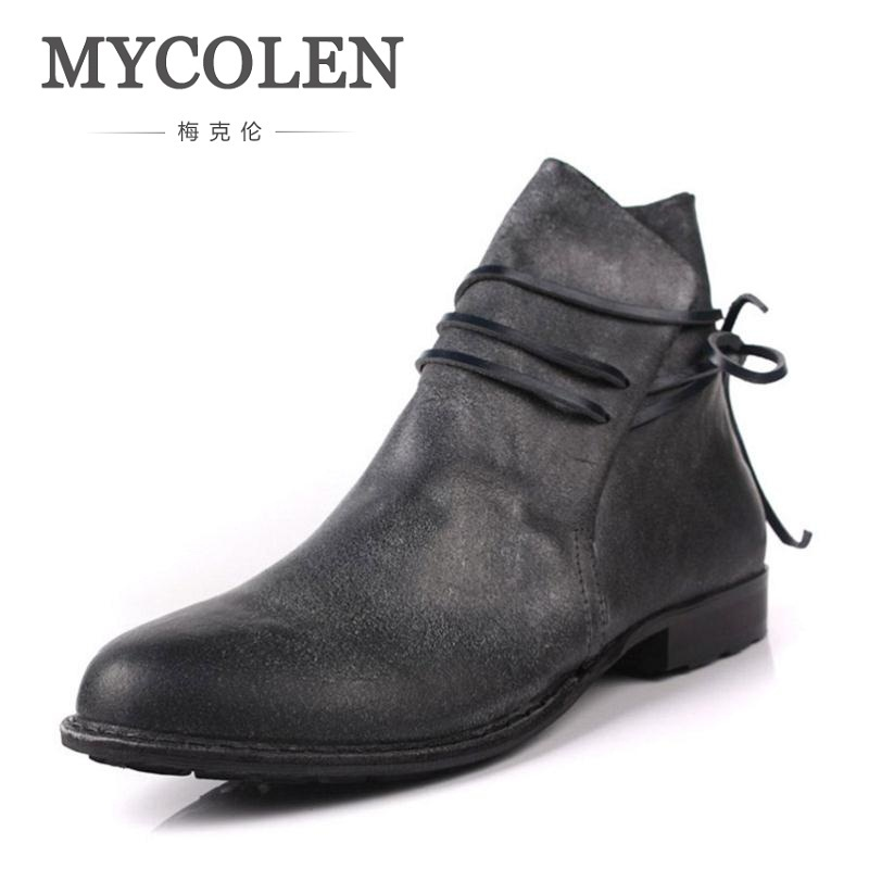 MYCOLEN British Style Handmade Men Shoes Crazy Genuine Leather Men Autumn Martin Boots Trend Personality Winter Ankle Boots mycolen 2017 fashion winter men boots british style working safety boots casual winter men shoes male black leather ankle boots