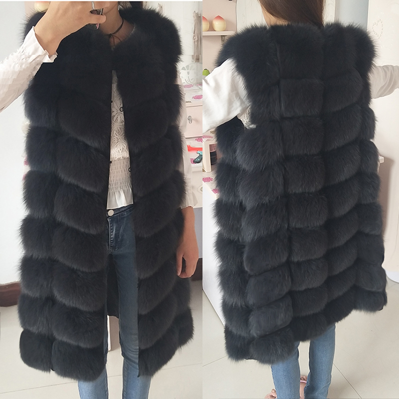 Vest Coats Jacket Natural-Fur-Coat Long-Fur Female