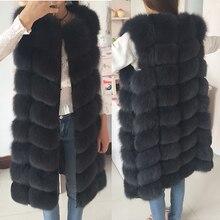 Натуральный Лисий мех жилет натуральный мех пальто для куртки женские пальто жилет длинные меховые пальто натуральный мех пальто лисий жилет куртка