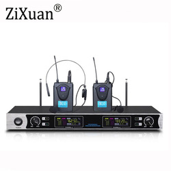 Top Quality EW240 Stage Performance 2 Channel Wireless Headset Microphones System UHF Karaoke System Cordless 2 Headset Mic bod